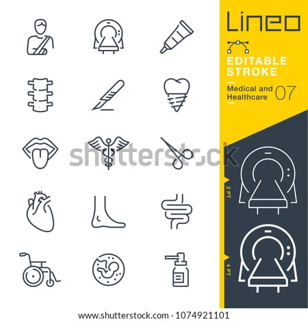 Lineo Editable Stroke - Medical and Healthcare line icons #1074921101