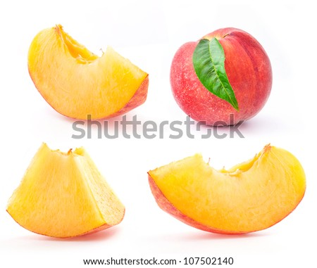 Peach and Slice, isolated on white background #107502140