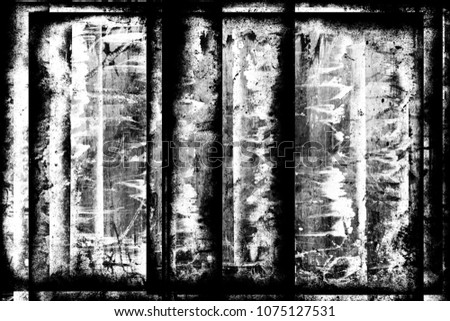 Grunge black and white abstract dirty textured background. Scratch lines over background. Noise and grain. Scratch texture. Grunge frame. Splashes of paint. Distress urban illustration #1075127531
