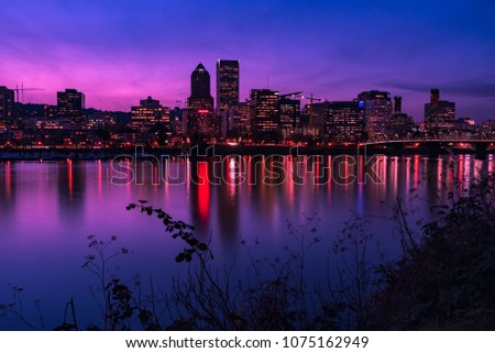 Portland reflections at sunset