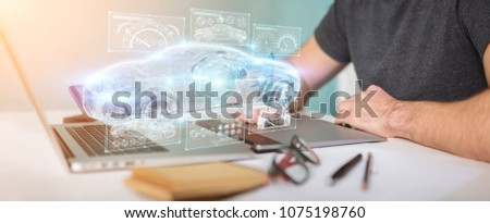 Graphic designer on blurred background modern smart car interface 3D rendering