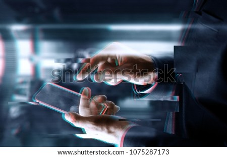 business, people and future technology concept - close up of businessman hands with transparent smartphone over abstract background #1075287173
