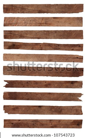 Old Wood plank, isolated on white background (Save Paths For design work) Royalty-Free Stock Photo #107543723
