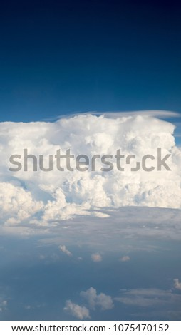 Blue Sky and Clouds on airplan