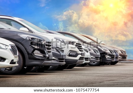 Cars For Sale Stock Lot Row. Car Dealer Inventory Royalty-Free Stock Photo #1075477754
