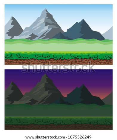 Cute cartoon endless landscape with separated layers,  scenery during the day and night illustration for game background #1075526249
