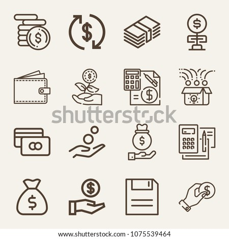 Money outline vector icon set on wood color background such as cash, money bag, coin, money, funds, credit card, save, budget, coins, investment, savings, invest, crowdfunding #1075539464