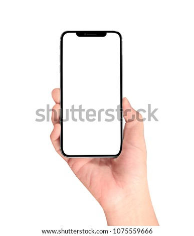 hand holding smartphone device #1075559666