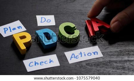 Hand arrange wood letters as PDCA acronym (Plan Do Check Action),Concept ,Business. #1075579040