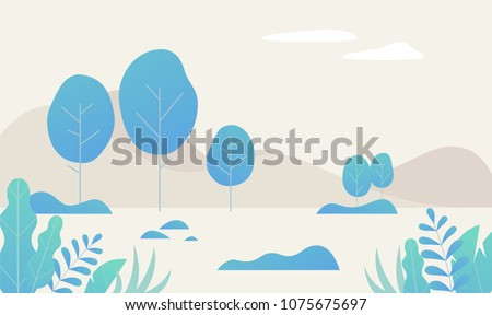 blue tree fantasy color space vector illustration flat design Royalty-Free Stock Photo #1075675697