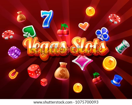 slots 3d element isolated on red background with casino icons. Vector illustration #1075700093