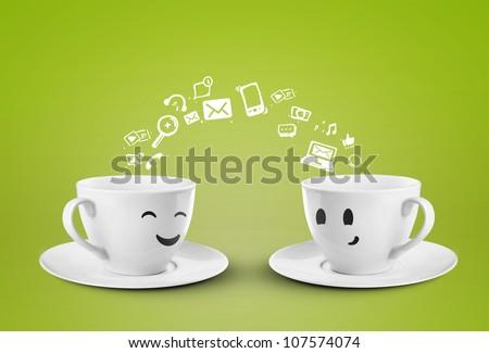 two happy cups, social media symbol