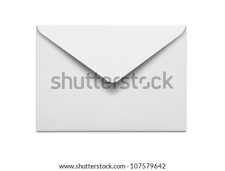 Blank envelope isolated on white background with clipping path Royalty-Free Stock Photo #107579642