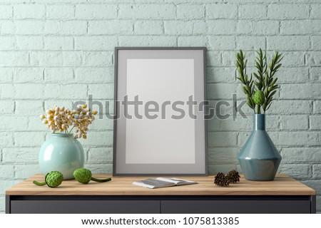 Mockup Poster in the interior, 3D illustration of a modern design #1075813385