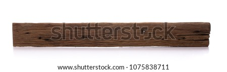 Isolated old wood board. Wooden beams. Sawn timber from Dipterocarpus wood. Royalty-Free Stock Photo #1075838711