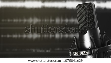 modern microphone. Audio recording and podcasting concept