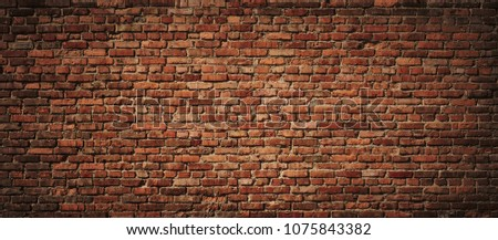 Red Brick wall background. Old Red stone blocks panoramic texture #1075843382