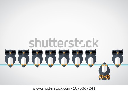 Think differently - Being different, standing out from the crowd -The graphic of owl also represents the concept of individuality , confidence, uniqueness, innovation, creativity. Royalty-Free Stock Photo #1075867241