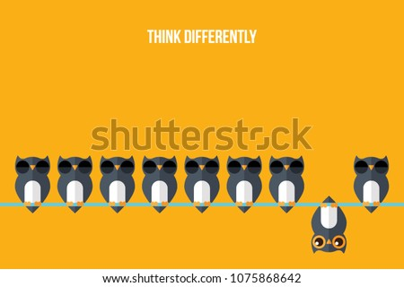 Think differently - Being different, standing out from the crowd -The graphic of owl also represents the concept of individuality , confidence, uniqueness, innovation, creativity. Royalty-Free Stock Photo #1075868642