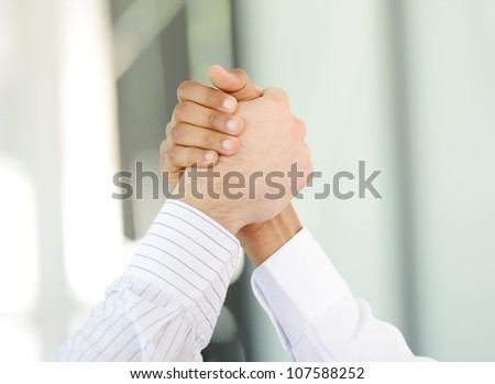Successful business people hand shaking after great deal #107588252