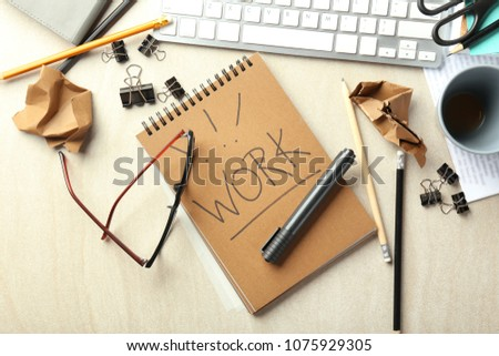 Computer keyboard, notebook and stationery on table, flat lay. Workplace composition #1075929305