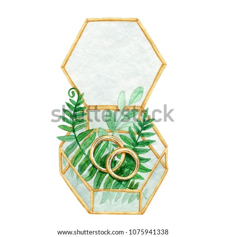 Gold terrarium with leaves of fern and wedding rings.Watercolor illustration of jewelry box perfect for themed wedding invitations, save the date cards. Octagonal backdrop in rustic or woodland style.