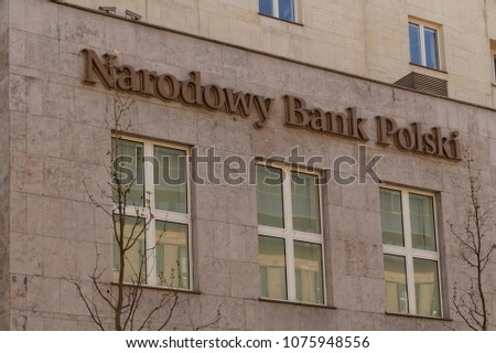 National Polish Bank (Narodowy Bank Polski, NBP) building in Warsaw, Poland #1075948556