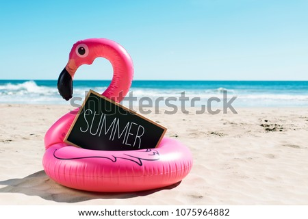 a signboard with the word summer written in it and a swim ring in the shape of a pink flamingo, on the sand of a beach, with the ocean in the background #1075964882