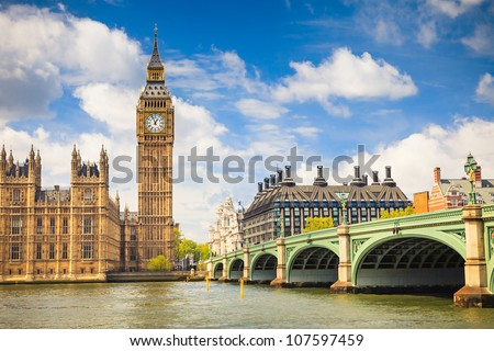 Big Ben and Houses of Parliament, London, UK Royalty-Free Stock Photo #107597459