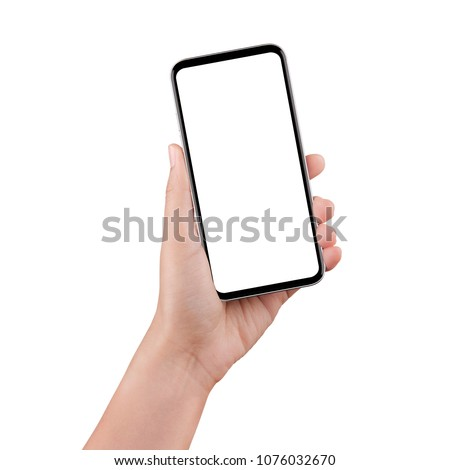 Touch screen mobile phone, in hand with clipping path. #1076032670