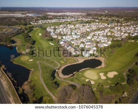 Aerial of Monroe New Jersey #1076045378