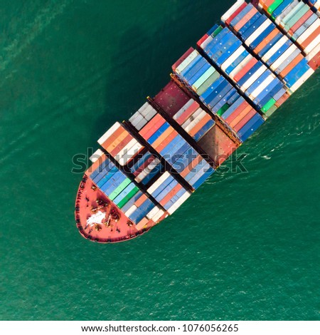 Aerial view of sea freight, Cargo ship, Cargo container on harbor at industrial estate for import export around in the world, Trade Port / Shipping - Cargo to harbor #1076056265