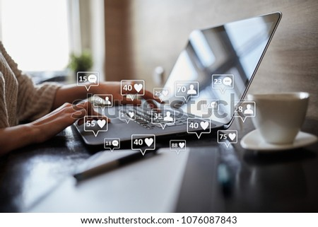 SMM, likes, followers and message icons on virtual screen. Social media marketing. Business and internet concept. #1076087843