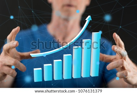 Financial growth concept between hands of a man in background #1076131379