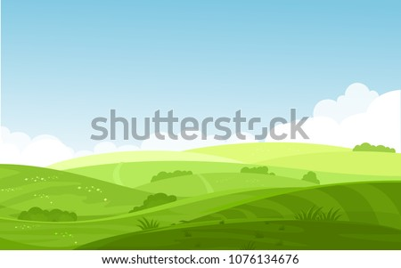 Vector illustration of beautiful fields landscape with a dawn, green hills, bright color blue sky, background in flat cartoon style. Royalty-Free Stock Photo #1076134676