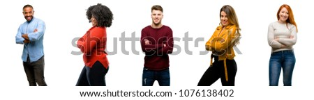Group of cool people, woman and man with crossed arms confident and happy with a big natural smile laughing #1076138402
