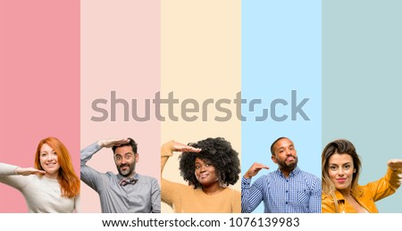 Cool group of people, woman and man holding something, size concept #1076139983