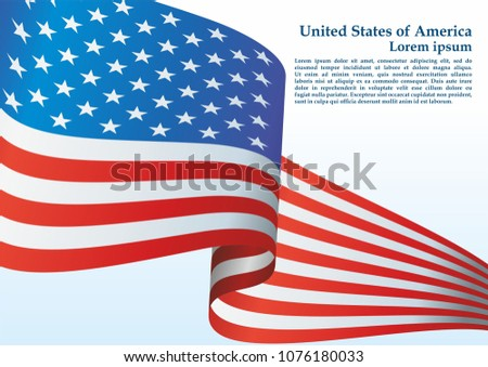 Flag of the United States, The American flag, The Stars and Stripes; Red, White, and Blue; Bright, colorful vector illustration #1076180033