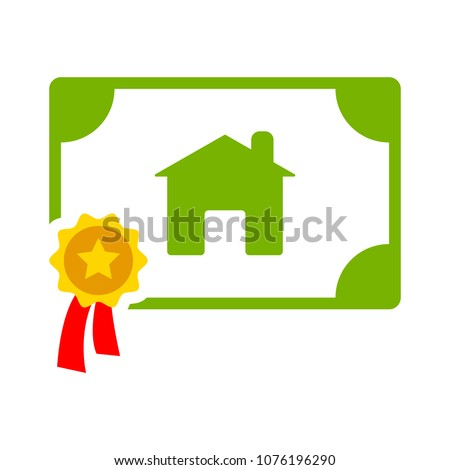 real estate certification illustration - sale icon - contract home rent label