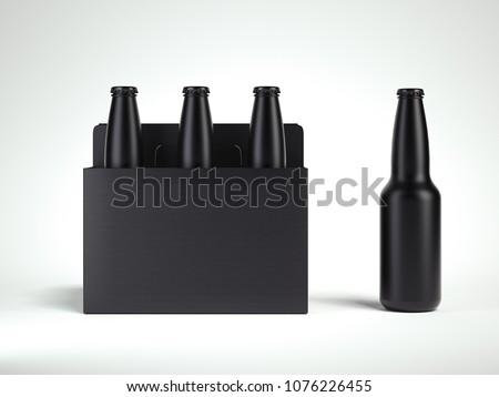 3 black isolated glass beer bottles in black box on light grey background, 3d rendering #1076226455