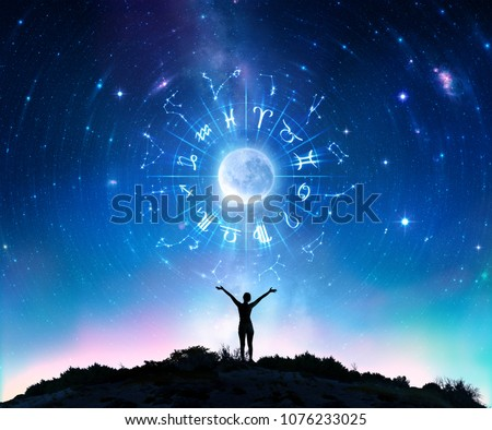 Woman Consulting The Stars - Zodiac Signs In The Sky - Contain elements furnished by NASA (moon and Stars) And Own Illustrations (Zodiac Signs)