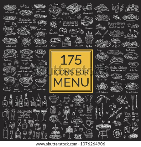 Vector set with food and drink hand drawn doodles. Sandwiches, Tea time soups, salads, main dishes, alcoholic drinks, appetizers, desserts, barbecue Illustration for menus, recipes