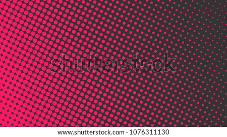 Halftone gradient dots background vector illustration. Pink dark dotted, black halftone texture. Pop Art black pink halftone, comics pattern. Background of Art. EPS10