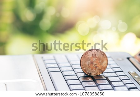 Digital money Bitcoin are placed on the notebook's keyboard.  photo Bitcoin,exchange virtual value, crypto digital money . Green bokeh background from nature forest.Investing With Digital Mon #1076358650