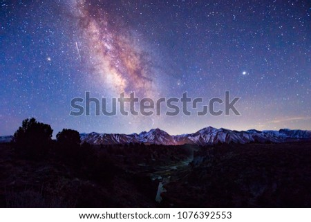 Milky Way from the Eastern Sierra Mountains, California, USA. #1076392553