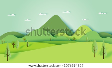 Green nature forest landscape scenery banner background paper art style.Vector illustration. Royalty-Free Stock Photo #1076394827