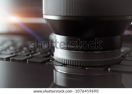 SHANGHAI, CHINA - APR 2018: the Sony A7 RII mirrorless lens. Optical Steady Shot of Sony camera made with macro lens for editorial propose #1076459690