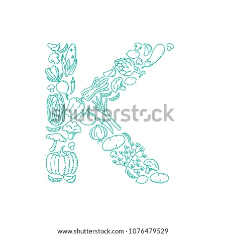 Alphabet Vegetable pattern set letter K illustration kids hand drawing concept design green color, isolated on white background, vector eps 10 #1076479529