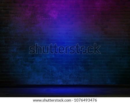 Brick wall, background, neon light Royalty-Free Stock Photo #1076493476