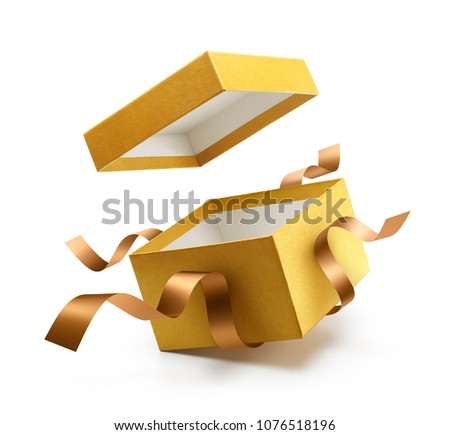 Gold open gift box with ribbon isolated on white background #1076518196